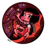 1girl backpack bag bangs black_eyes black_hair blush bubble_blowing chair chewing_gum circle closed_mouth highres hologram looking_at_viewer medium_hair peni_parker pleated_skirt reaching_out robot school_uniform shirt short_hair sitting skirt smile solo sp//dr spider-man:_into_the_spider-verse spider-man_(series) sweater sweater_vest white_background yoineko