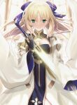 1girl ahoge artoria_pendragon_(caster)_(fate) artoria_pendragon_(fate) bangs black_gloves blonde_hair blue_bow bow breasts cleavage_cutout closed_mouth clothing_cutout commentary_request dress elbow_gloves excalibur_(fate/stay_night) eyebrows_visible_through_hair facial_mark fate/grand_order fate_(series) floating_hair forehead_mark gloves glowing glowing_sword glowing_weapon green_eyes hair_bow highres holding holding_sword holding_weapon long_hair looking_at_viewer medium_breasts neko_daruma parted_bangs sidelocks smile solo sword twintails weapon white_dress wide_sleeves