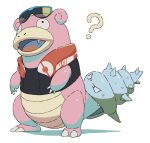 ? black_vest claws commentary eyewear_on_head fangs full_body no_humans open_mouth orange_towel pokemon pokemon_(creature) pokemon_(game) pokemon_unite simple_background slowbro solo standing sunglasses tongue towel towel_around_neck ushidori_(cowbirdfrog) vest white_background
