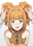 1boy 1girl :d animal_ears animal_hands bangs bare_shoulders belt_collar bikini blue_eyes blunt_bangs breasts collar collarbone commentary crooked_smile dog_ears ear_grab eyebrows_visible_through_hair from_above fur_bikini hair_intakes hair_ornament hair_scrunchie hands_on_own_chest highres idolmaster idolmaster_(classic) looking_at_viewer male_hand open_mouth orange_hair pov producer_(idolmaster) red_collar red_neckwear scrunchie short_hair short_twintails sidelocks simple_background sleeveless small_breasts smile sound_effects standing strapless strapless_bikini sweat swimsuit takatsuki_yayoi touching_ears tsurui tube_top twintails upper_body upturned_eyes white_background