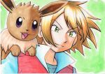 1boy bangs blonde_hair closed_mouth commentary_request eevee eyebrows_visible_through_hair floating_hair green_eyes highres jacket looking_down male_focus oka_mochi pokemon pokemon_(anime) pokemon_(creature) pokemon_bw_(anime) popped_collar red_jacket shirt upper_body virgil_(pokemon)