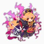 1girl ayahi_4 bangs black_sleeves blush chinese_clothes energy highres junko_(touhou) long_hair long_sleeves looking_at_viewer multiple_tails open_mouth orange_hair outstretched_arms phoenix_crown red_eyes ribbon shoes solo tabard tail tassel touhou wide_sleeves yellow_neckwear yellow_ribbon