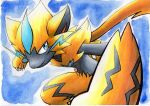 blue_background blue_eyes claws closed_mouth commentary_request fang fang_out furry highres looking_to_the_side mythical_pokemon oka_mochi pokemon pokemon_(creature) smile solo traditional_media yellow_fur zeraora