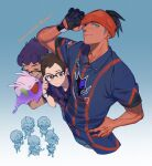 >_< 3boys :d ? bespectacled black_hair blue_shirt blue_shorts brown_eyes brown_hair closed_eyes closed_mouth collared_shirt commentary_request cosplay dark-skinned_male dark_skin earrings glasses gloves gym_trainer_(pokemon) gym_trainer_(pokemon)_(cosplay) hand_on_hip holding holding_pokemon hop_(pokemon) jewelry kmtk male_focus multiple_boys open_mouth orange_headwear partially_fingerless_gloves pokemon pokemon_(creature) pokemon_(game) pokemon_swsh purple_hair raihan_(pokemon) shirt short_hair short_sleeves shorts single_glove smile teeth tongue trembling undercut victor_(pokemon)