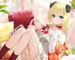 1girl ahoge animal_ears blonde_hair breasts collarbone controller couch cushion dress eyebrows_visible_through_hair fuumi_(radial_engine) game_controller gamepad hair_ornament hairclip headphones hololive horns jacket looking_at_viewer lying medium_breasts neck_ribbon official_art on_back red_legwear red_neckwear ribbon sheep_ears sheep_girl sheep_horns side_ponytail solo tsunomaki_watame violet_eyes virtual_youtuber watermark white_dress white_jacket