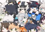 ! 1other 4boys 6+girls :3 :d aak_(arknights) ambiguous_gender animal_ear_fluff animal_ears animal_hands animal_nose annotated arknights bangs black_cape black_footwear black_gloves black_hair black_headwear black_jacket black_shirt blaze_(arknights) blonde_hair blue_eyes boots braid broca_(arknights) brown_background brown_hair cabbie_hat cameo cape cat_ears chibi chibi_on_head cliffheart_(arknights) closed_mouth colored_eyelashes commentary computer cup doctor_(arknights) english_commentary english_text error_message eyebrows_visible_through_hair fang flower folinic_(arknights) fur-trimmed_cape fur_trim gloves green_eyes green_hair grey_eyes grey_gloves grey_hair hair_flower hair_ornament hairband hat haze_(arknights) hood hood_up hooded_jacket indra_(arknights) iris_(arknights) jacket jessica_(arknights) kal'tsit_(arknights) laptop leopard_ears long_hair lying melantha_(arknights) minigirl mint_(arknights) mountain_(arknights) mousse_(arknights) mug multicolored_hair multiple_boys multiple_girls nightmare_(arknights) on_head on_side one_eye_closed open_clothes open_jacket open_mouth orange_hair out_of_frame parted_lips paw_gloves phantom_(arknights) ponytail pramanix_(arknights) purple_hair red_hairband redhead rosmontis_(arknights) schwarz_(arknights) shirt shoe_soles silverash_(arknights) simple_background skyfire_(arknights) smile someyaya spoken_exclamation_mark streaked_hair sweat swire_(arknights) thick_eyebrows too_many very_long_hair violet_eyes waai_fu_(arknights) white_eyes white_hair white_headwear white_jacket white_shirt witch_hat yellow_eyes