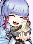 1girl bad_food bangs black_gloves blue_dress blue_hair blunt_bangs blush bowl cake commentary dress ears_visible_through_hair eyebrows_visible_through_hair fingerless_gloves fingernails food fruit genshin_impact giving gloves gradient_hair hair_ornament hair_ribbon happy highres hime_cut holding holding_bowl holding_food kamisato_ayaka korean_commentary mixed-language_commentary mole mole_under_eye multicolored_hair mushroom noodles open_mouth pink_background pink_ribbon ponytail portrait purple_hair ramen ribbon shiny shiny_hair sidelocks simple_background smile strawberry tongue uncolorcube upper_teeth