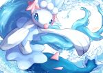 blue_eyes commentary_request highres no_humans open_mouth outstretched_arm pokemon pokemon_(creature) primarina shiny smile solo tanpakuroom water water_drop