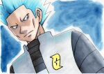 1boy black_shirt blue_background blue_eyes blue_hair closed_mouth commentary_request cyrus_(pokemon) frown grey_vest highres logo looking_down male_focus oka_mochi pokemon pokemon_(game) pokemon_dppt shirt short_hair solo spiky_hair team_galactic traditional_media upper_body vest