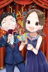 1boy 1girl :d absurdres bangs bare_arms bare_shoulders black_hair blue_dress blue_flower blue_jacket blue_pants blue_rose brown_eyes brown_hair commentary_request cup dress drinking_glass flower forehead formal highres holding holding_cup jacket karakai_jouzu_no_takagi-san long_hair nishikata official_art open_mouth pants parted_bangs party_popper purple_vest rose shirt sleeveless sleeveless_dress smile streamers suit takagi-san very_long_hair vest white_shirt wine_glass yamamoto_souichirou