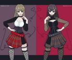 alternative_girls black_clothes blonde_hair dark_hair dysphoria fishnets gothic heart original punk symmetry