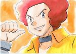 1boy afro bangle bracelet choker collared_shirt commentary_request flint_(pokemon) grey_choker grey_eyes grin hand_up highres jewelry looking_at_viewer male_focus oka_mochi orange_background outline parted_lips pokemon pokemon_(game) pokemon_dppt redhead shirt smile solo thumbs_up traditional_media upper_body yellow_shirt