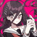1girl bangs brown_eyes brown_hair commentary_request danganronpa:_trigger_happy_havoc danganronpa_(series) eyebrows_visible_through_hair floating_hair fukawa_touko glasses hair_between_eyes hair_ornament hairclip holding long_hair long_sleeves looking_at_viewer mole mole_under_mouth own_hands_together patzzi pink_background round_eyewear sailor_collar school_uniform serafuku simple_background sketch solo upper_body white_sailor_collar