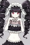 1girl 3j_dangan bangs bikini bikini_skirt black_hair black_nails breasts celestia_ludenberg collarbone commentary_request cowboy_shot danganronpa_(series) danganronpa_s:_ultimate_summer_camp drill_hair earrings eyebrows_visible_through_hair frills gothic_lolita grey_background hands_up highres jewelry lace lolita_fashion long_hair looking_at_viewer medium_breasts midriff navel red_eyes simple_background smile solo stomach swimsuit twin_drills twintails