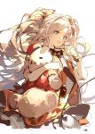 1girl :d arknights black_bow black_neckwear blonde_hair blue_eyes bow bowtie cowboy_shot dress feather_hair_ornament feathers gloves hair_bow hair_ornament hand_on_own_face highres holding holding_stuffed_toy kagura_tohru long_hair official_alternate_costume open_mouth parted_lips pinecone_(arknights) pinecone_(sing_a_song)_(arknights) red_bow red_dress simple_background sketch smile solo stuffed_animal stuffed_toy teddy_bear very_long_hair white_background white_gloves