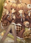 2girls bangs book brown_eyes brown_hair brown_jacket brown_legwear brown_skirt closed_eyes collared_shirt commentary different_reflection eyebrows_visible_through_hair feet_out_of_frame frilled_skirt frills hair_intakes jacket karokuchitose knees_together_feet_apart knees_up long_hair mirror multiple_girls open_book open_mouth original pantyhose parted_lips plaid plaid_skirt reflection shirt skirt stuffed_animal stuffed_toy teddy_bear white_shirt