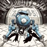 claws fisheye ghost_in_the_shell highres looking_at_viewer mecha no_humans omao open_hands pipe science_fiction shadow solo tachikoma