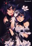 2girls :d :o absurdres bangs bare_shoulders black_background black_dress black_flower black_gloves blue_eyes blue_hair chain crispytuna97 dress dual_persona flower gloves hair_between_eyes hair_flower hair_ornament hand_on_own_face highres honkai_(series) honkai_impact_3rd looking_to_the_side multiple_girls open_mouth red_eyes redhead seele_(alter_ego) seele_vollerei seele_vollerei_(stygian_nymph) short_hair smile tearing_up tears white_dress white_flower white_gloves