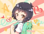 1girl :q animal_bag backpack bag blonde_hair brown_eyes cat_bag green_bag heart looking_at_viewer looking_back medium_hair multicolored multicolored_background peni_parker school_uniform shirt short_hair skirt solo spider-man:_into_the_spider-verse spider-man_(series) star_(symbol) sweater_vest tongue tongue_out tytmbsr upper_body white_shirt