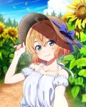 1girl bare_shoulders blonde_hair blue_eyes closed_mouth clouds cover flower hand_on_headwear hat highres kanojo_okarishimasu light_smile looking_at_viewer nanami_mami official_art outdoors outstretched_arm solo summer sun_hat sunflower upper_body