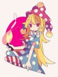 1girl :p american_flag_dress american_flag_shirt bangs blonde_hair blue_dress blue_pants circle clownpiece daizu_(melon-lemon) dress fire full_body hat holding holding_torch jester_cap long_hair multicolored multicolored_clothes multicolored_dress multicolored_pants pants purple_headwear red_dress red_eyes red_pants simple_background solo tongue tongue_out torch touhou white_background