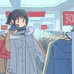 1girl bag black_hair blue_scarf brown_coat closed_mouth clothes_rack coat coat_removed commentary_request eyebrows_visible_through_hair grey_coat grey_eyes handbag highres indoors long_sleeves muji_(uimss) original ponytail sale scarf shop shopping solo