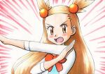 1girl blush bow brown_eyes brown_hair commentary_request dress emphasis_lines eyelashes hair_bobbles hair_ornament hand_up highres jasmine_(pokemon) long_hair looking_at_viewer oka_mochi open_mouth orange_bow outstretched_arm pokemon pokemon_(game) pokemon_hgss pose solo tongue traditional_media two_side_up