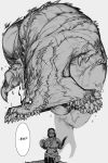 1girl 1other absurdres armor breastplate breasts buckler deviljho dragon english_commentary english_text forehead_protector greyscale highres holding holding_shield holding_sword holding_weapon imminent_death jaw jumping krekk0v large_breasts monochrome monster monster_hunter_(series) open_mouth saliva scar shield short_sword size_difference speech_bubble spikes sweatdrop sword teeth weapon wyvern