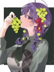 1girl alternate_costume alternate_hairstyle bangs braid breasts buttons collared_dress commentary_request dress eating fate/stay_night fate_(series) fingernails food food-themed_hair_ornament food_in_mouth food_on_head fruit fruit_on_head grape_hair_ornament grapes green_dress green_neckwear hair_ornament hair_ribbon highres holding holding_food holding_fruit lips long_hair long_sleeves looking_at_viewer matou_sakura medium_breasts object_on_head open_mouth pink_lips plaid purple_hair red_ribbon ribbon shimatori_(sanyyyy) solo teeth upper_body upper_teeth violet_eyes