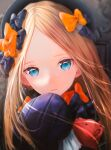 1girl abigail_williams_(fate) bangs black_bow black_dress black_headwear blonde_hair blue_eyes bow breasts dress fate/grand_order fate_(series) forehead hair_bow hat highres long_hair multiple_bows multiple_hair_bows ojay_tkym orange_bow parted_bangs polka_dot polka_dot_bow revision ribbed_dress sleeves_past_fingers sleeves_past_wrists small_breasts solo stuffed_animal stuffed_toy teddy_bear