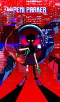 backpack bag black_footwear black_legwear full_body glitch green_bag highres koug00 looking_at_viewer medium_hair motherboard peni_parker pleated_skirt red_background red_eyes robot school_uniform shaded_face shadow shirt shoes short_hair skirt sp//dr spider-man:_into_the_spider-verse spider-man_(series) standing