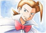 1boy bangs blue_background blue_eyes bow brown_hair cape closed_mouth commentary_request eusine_(pokemon) highres jacket male_focus medium_hair oka_mochi pokemon pokemon_(game) pokemon_gsc purple_jacket red_bow smile solo traditional_media upper_body white_cape