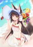 1girl :t absurdres adjusting_clothes adjusting_headwear animal_ears azur_lane bangs bare_shoulders beach bird black_hair blunt_bangs blurry chick collarbone commentary_request covered_navel date_shichuan_majiang depth_of_field eyebrows_visible_through_hair flower food fox_ears fox_girl fox_mask fox_tail from_above fruit grapes hair_ornament hairclip hat hat_flower hat_ornament highres jewelry long_hair looking_at_viewer looking_up manjuu_(azur_lane) mask mask_on_head nagato_(great_fox's_sleepwear)_(azur_lane) nagato_(kancolle) necklace ocean panties pout red_panties ribbon-trimmed_legwear ribbon_trim scrunchie see-through side-tie_panties sidelocks spaghetti_strap sun_hat tail underwear white_legwear wrist_scrunchie yellow_eyes
