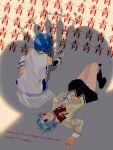 1girl absurdres blue_hair cape facing_away gloves highres magical_girl mahou_shoujo_madoka_magica miki_sayaka mitakihara_school_uniform oktavia_von_seckendorff sate_(ryu_ryu_1212m) school_uniform shadow short_hair surreal white_cape white_gloves witch_(madoka_magica)