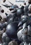 absurdres aggron blue_eyes blurry claws commentary_request from_below glint glowing glowing_eyes highres makihige no_humans open_mouth pokemon pokemon_(creature) rock solo standing tongue