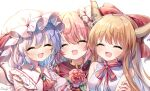 3girls artist_name ascot bangs bare_shoulders bat_wings blonde_hair blush bow bowtie breasts buttons closed_eyes collar collared_dress double_bun dress eyebrows_visible_through_hair flower gem hair_between_eyes hand_on_another's_arm hands_up hat hat_ribbon highres horns ibaraki_kasen ibuki_suika jewelry leaf long_hair medium_breasts mob_cap multiple_girls open_mouth pink_dress pink_flower pink_hair pink_nails pink_sleeves pudding_(skymint_028) puffy_short_sleeves puffy_sleeves purple_hair red_bow red_neckwear red_ribbon red_vest remilia_scarlet ribbon shirt short_hair short_sleeves simple_background sleeveless sleeveless_shirt smile tabard touhou upper_body vest white_background white_headwear white_shirt wings