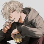 1boy black_shirt earrings food half-closed_eyes highres holding holding_food holding_spoon hood hood_down hooded_shirt jewelry looking_at_viewer male_focus original parted_lips pudding red_eyes shirt short_hair solo spoon uminonew upper_body white_hair