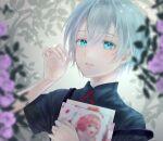 1boy blue_eyes book bow flower garden grey_hair highres holding holding_book original red_bow silver_hair user_znks4274