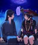 2boys alternate_hair_length alternate_hairstyle armor bangs black_hair blue_eyes blue_kimono blunt_ends collarbone dark_sky dual_persona english_text eyebrows_visible_through_hair from_side furrowed_brow genshin_impact grass hair_behind_ear hair_between_eyes hair_over_shoulder hand_on_another's_hand hat highres japanese_armor japanese_clothes kimono knees kote kurokote layered_sleeves long_hair long_sleeves looking_at_another lui_lui00g mitsudomoe_(shape) multiple_boys open_mouth rope scaramouche_(genshin_impact) shimenawa short_sleeves shorts sidelocks sitting smile tall_grass tassel tomoe_(symbol) twitter_username veil very_long_hair wide_sleeves