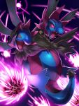 commentary_request draco_meteor_(pokemon) fangs glowing glowing_eyes highres hydreigon looking_down mian_(3zandora) multiple_heads no_humans open_mouth pokemon pokemon_(creature) solo tongue violet_eyes