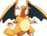 charizard claws commentary_request fangs fangs_out fire looking_down morio_(poke_orio) no_humans pokemon pokemon_(creature) simple_background solo standing white_background