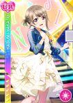 blush character_name dress grey_hair love_live!_nijigasaki_high_school_idol_club love_live!_school_idol_festival nakasu_kasumi red_eyes short_hair smile