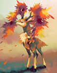 antlers closed_mouth commentary_request deer full_body fusenryo highres leaves_in_wind looking_up no_humans pokemon pokemon_(creature) sawsbuck sawsbuck_(autumn) solo standing