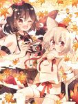 2girls animal_ears autumn_leaves bird_wings black_hair black_neckwear black_ribbon black_skirt breasts brown_eyes camera commentary_request detached_sleeves eyebrows_visible_through_hair fang hair_between_eyes hat highres holding holding_camera inubashiri_momiji large_breasts looking_at_viewer looking_to_the_side mobilis_1870 multiple_girls one_eye_closed open_mouth pom_pom_(clothes) red_eyes ribbon sarashi shameimaru_aya shield shirt short_hair skirt tokin_hat touhou v-shaped_eyebrows white_hair white_shirt wings wolf_ears