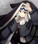 1girl arknights artist_name bangs black_coat black_dress black_headwear blush breasts capelet coat cowboy_shot dress genieko goggles goggles_on_head grey_background grey_hair habit hair_between_eyes hand_on_own_forehead jewelry long_hair long_sleeves looking_at_viewer necklace nun parted_lips purple_nails red_eyes ribbed_sweater smile specter_(arknights) sweater
