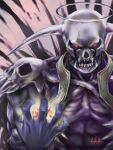 1other asanagi blue_skin colored_skin commentary dark_lord_(ragnarok_online) demon fire glowing glowing_eyes halo horns looking_at_viewer lowres magic open_mouth ragnarok_online red_eyes sharp_teeth signature solo teeth upper_body