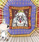 >_< dress luigi's_mansion pale_skin portrait princess_king_boo professor_elvin_gadd sharp_teeth super_crown teeth tokkyuu_mikan tongue tongue_out white_dress white_hair