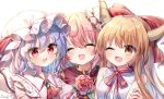3girls artist_name ascot bangs bare_shoulders bat_wings blonde_hair blush bow bowtie breasts brown_eyes buttons closed_eyes collar collared_dress double_bun dress eyebrows_visible_through_hair eyes_visible_through_hair flower gem hair_between_eyes hand_on_another's_arm hands_up hat hat_ribbon highres horns ibaraki_kasen ibuki_suika jewelry leaf long_hair looking_at_another medium_breasts mob_cap multicolored multicolored_eyes multiple_girls one_eye_closed open_mouth pink_dress pink_eyes pink_flower pink_hair pink_nails pink_sleeves pudding_(skymint_028) puffy_short_sleeves puffy_sleeves purple_hair red_bow red_eyes red_neckwear red_ribbon red_vest remilia_scarlet ribbon shirt short_hair short_sleeves simple_background sleeveless sleeveless_shirt smile tabard touhou upper_body vest white_background white_headwear white_shirt wings yellow_eyes