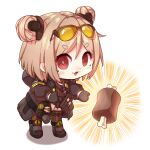 1girl absurdres blush_stickers boned_meat chibi commission crr001 double_bun food girls_frontline giving highres light_brown_hair meat p90_(girls'_frontline) red_eyes second-party_source short_eyebrows short_hair smile solo thick_eyebrows