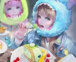 2girls alien_(toy_story) bangs blonde_hair blueberry blunt_bangs blurry blurry_background bm94199 cake character_hood cinnamoroll commentary denim denim_jacket depth_of_field eating english_commentary eyelashes food fork fruit fur green_eyes grin highres holding holding_fork jacket james_p._sullivan lanyard lilo_&_stitch long_hair looking_at_another looking_to_the_side makeup michael_wazowski monsters_inc. multiple_girls my_melody open_mouth pineapple pink_eyes pink_hair pins pixar plate pompompurin sanrio scrunchie scrunchie_removed smile solo_focus stitch_(lilo_&_stitch) strawberry teeth toy_story whipped_cream wrist_scrunchie